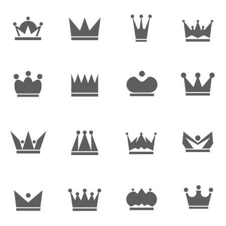 왕의 왕관 집합 벡터 일러스트 아이콘