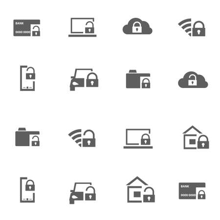 Set of protection security vector icons in black style