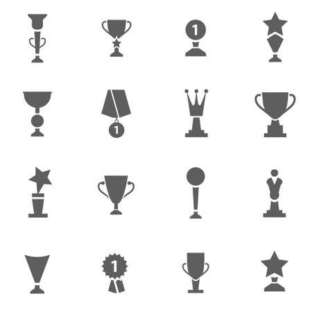Set of award trophy medal black vector icons