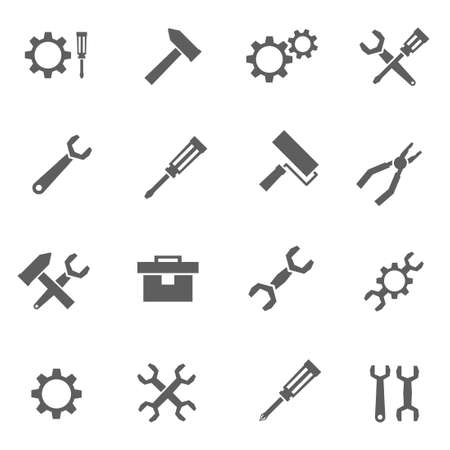 Set of maintenance wrench tool vector black icons