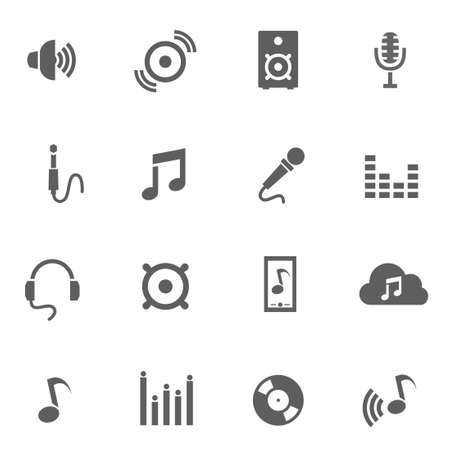 Set of music audio app vector black icons Vector