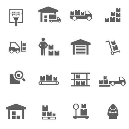 carretillas almacen: Conjunto de vector de almacenamiento iconos negros de logística de almacén Vectores