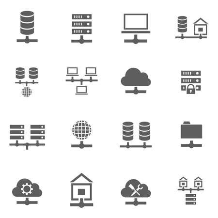 데이터베이스 벡터 검은 아이콘을 호스팅하는 서버 데이터의 집합 일러스트