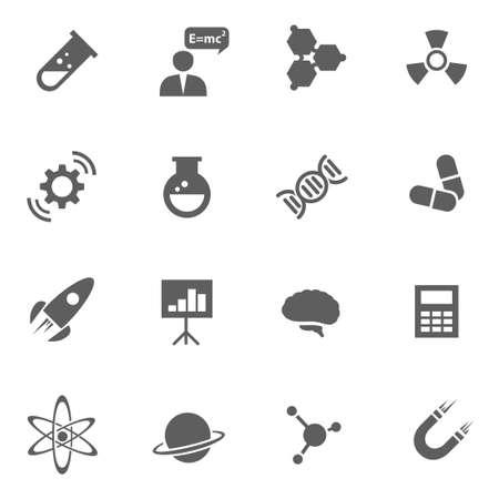 Set of science chemistry medicine vector black icons