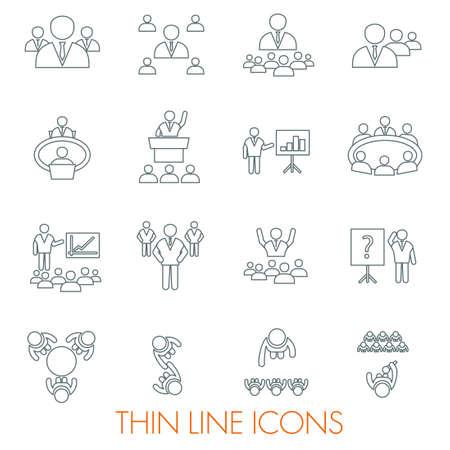 personas trabajando en oficina: Conoce iconos conjunto gente de negocios en la formación oficina de la conferencia y seminario