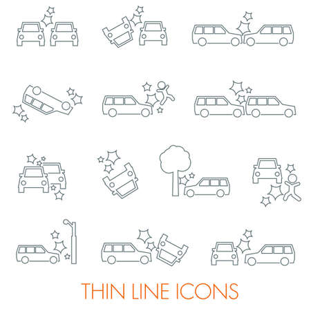 accidents: Car crash icons auto SUV accident bold set Illustration
