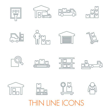 Set of warehouse logistic storage vector thin icons