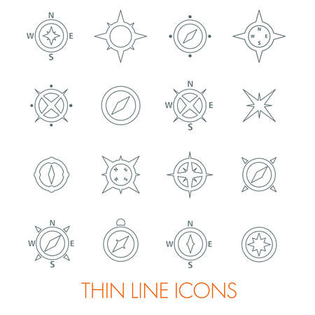 Set of compasses navigation signs and wind rose Ilustrace