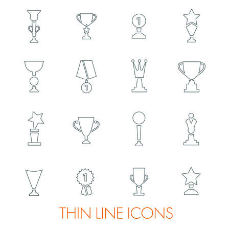 Set of award trophy medal thin vector icons Ilustrace