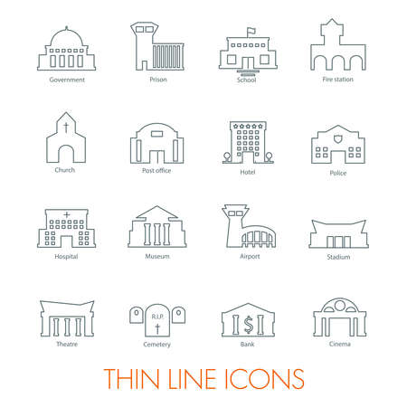 government: Set of government buildings icons vector illustration