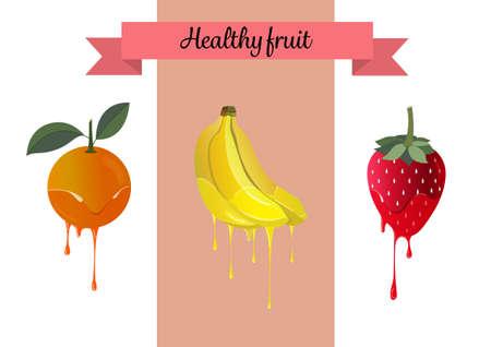 illustrators: set sweet dessert healthy fruit for packaging advertise Illustration