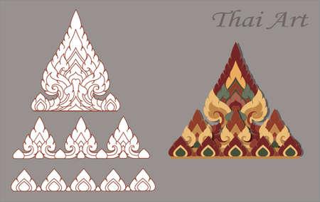thai arts: Krajang Thai Art Modern Design color vintage original Illustration