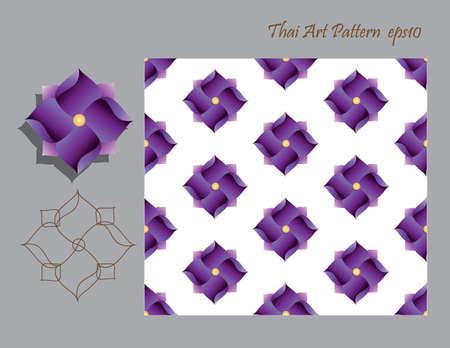 applied: Purple  flower Thai modern applied art