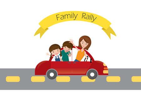 viaje familia: Viaja rally de coches con el coche de la familia en la ilustración vectorial de carreteras