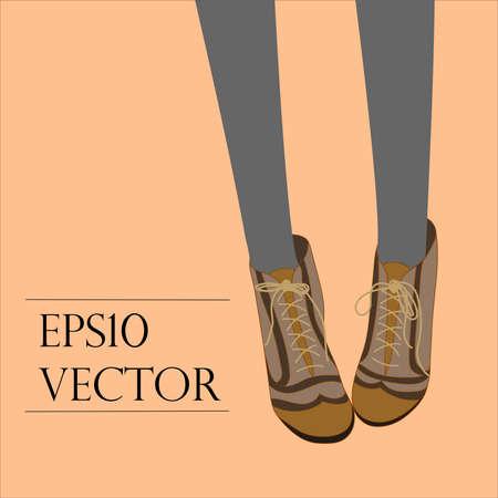 女性のストッキングを足し、ビンテージ ローライズ スタイル ファッション ベクトルの靴