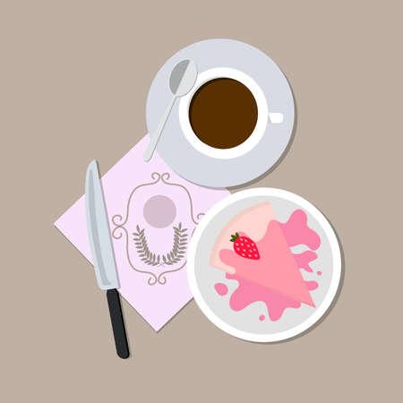 茶色のテーブルの上のナイフ スプーンでコーヒーとケーキを設定します。