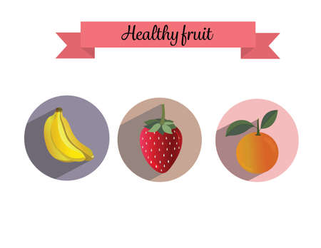 set fruit healthy banana strawberry orange background long shadow