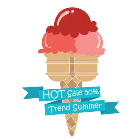 本文、作成かわいい icecreamcone ファッションの赤いアイス クリーム strawbeerry コーン デザート トレンド夏  イラスト・ベクター素材