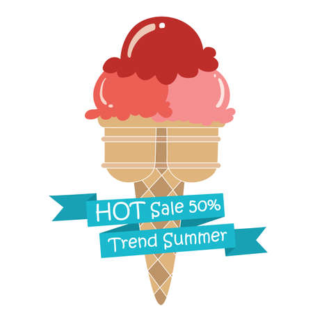 red Ice Cream strawbeerry cone dessert trend summer with text ,cute icecreamcone fashion created Иллюстрация
