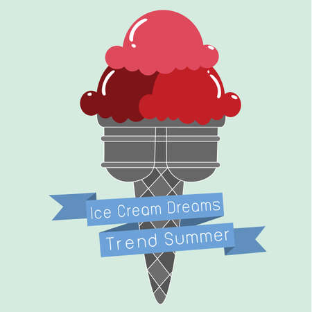 soft serve ice cream: red Ice Cream strawbeerry cone dessert trend summer with text ,grey cpne fashion created Illustration