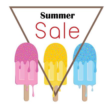 夏販売アイスクリーム カラフルなシンボル、ポスター ファッション販売広告ピンク、黄色、青のメルト
