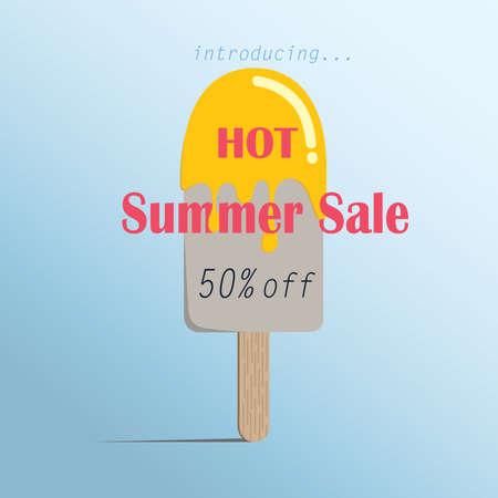 夏販売アイスクリーム カラフルなシンボル、ポスター ファッション販売広告