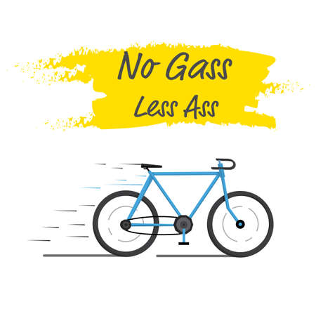 Eco blue bicycle No gass less ass speed , poster present or invite ride bicycle