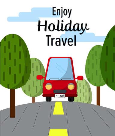 赤い車旅行本文イラストの休日を楽しむ、木の支柱横商業ベクトル