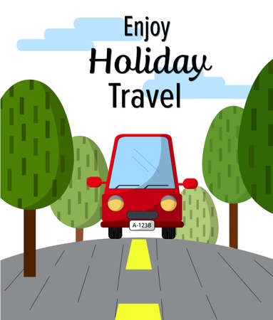 Red car travel enjoy holiday  with text illustration ,trees brace sideways commercial vector