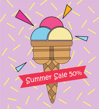 ful: Ice cream pop art summer sale 50 cute colorful , Poster advertisement goods sale or you created