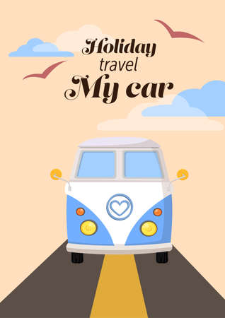 touring car: old car family travel enjoy on holiday sign with text retro vector,cloud and bird on the sky illustration Illustration