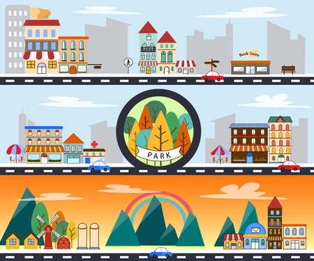 city scape building countryside and city life urban landscape vector illustration