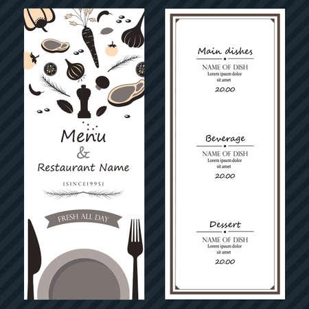 ingredientes del menú de carne fresca quité la cubierta plantilla de fondo de color con el texto Ilustración de vector
