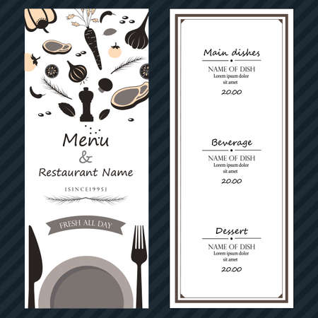 restuarent steak menu ingredients fresh  template backgroud cover with text Illustration