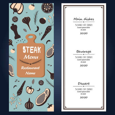 raw material: restuarent steak menu ingredients fresh  template backgroud cover with text Illustration