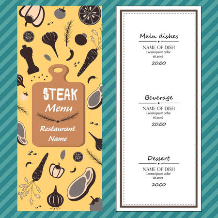 raw material: restuarent steak menu ingredients fresh yellow template backgroud cover with text