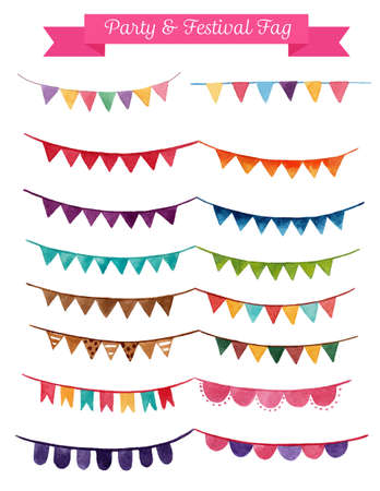 party or festival flag ribbon hand draw watercolor painting on white background vector, paper texture blots brush illustration EPS10