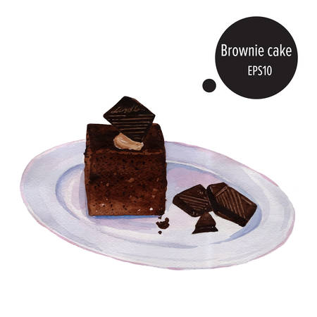 brownie: style design for the label, cover, dessert menu  paper texture blots brushon white background vector illustration EPS10