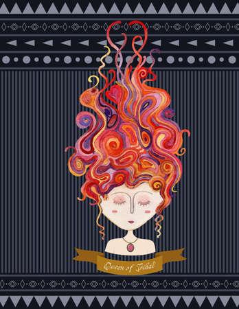創造的なカバーの教科書、ラベル、部族芸術の抽象的なイラストの装飾女の子カラフルな髪暗い背景 ribobon