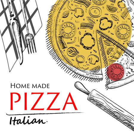 pizza: fondo blanco ilustración vectorial EPS10 Vectores