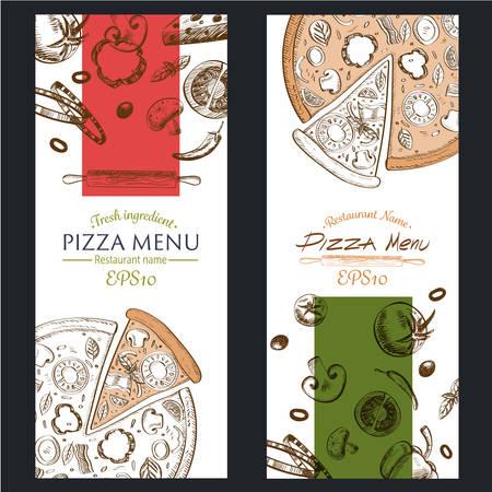pizza: retro color ilustración vectorial EPS10