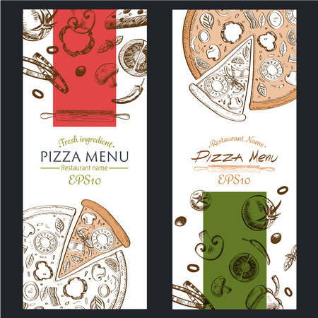 pizza: retro color  vector illustration EPS10