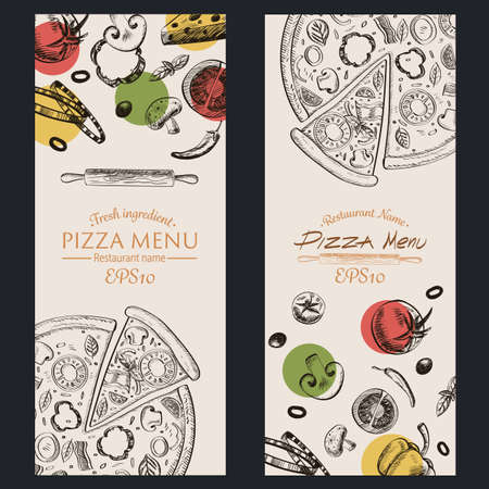pizza ingredients: retro color  vector illustration EPS10