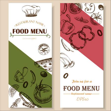 野菜のレトロな色ベクトル図 EPS10