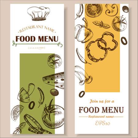 logos restaurantes: vegetales de colores retro ilustración vectorial EPS10