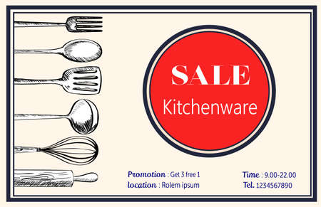 ustensiles de cuisine: ustensiles de cuisine modèle de decorataion le style Claasic rétro, illustration EPS10