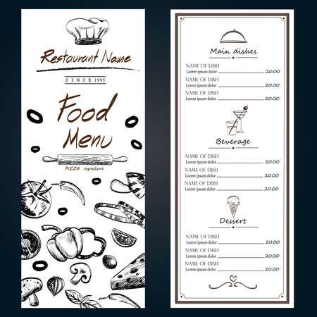 野菜の材料成分の装飾カバー メニュー白テンプレート手描き、図 EPS10  イラスト・ベクター素材