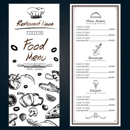 vegetable material ingredients decoration cover menu white template hand drawn ,illustration EPS10 Иллюстрация