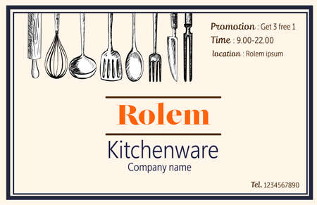 kitchenware decorataion template retro claasic style,illustration EPS10