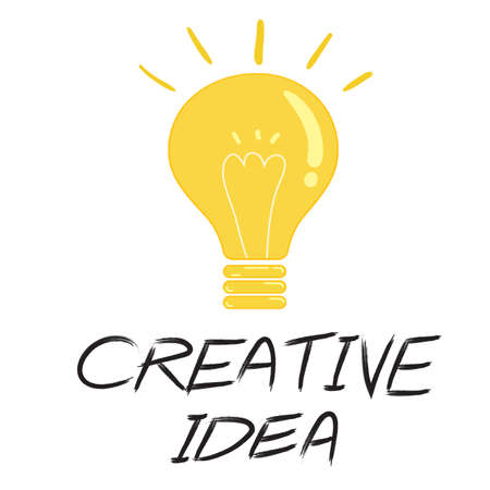 黄色の電球インスピレーション創造的なアイデア コンセプト、白い背景の上の電力エネルギー ランプ ベクトル図を落書き